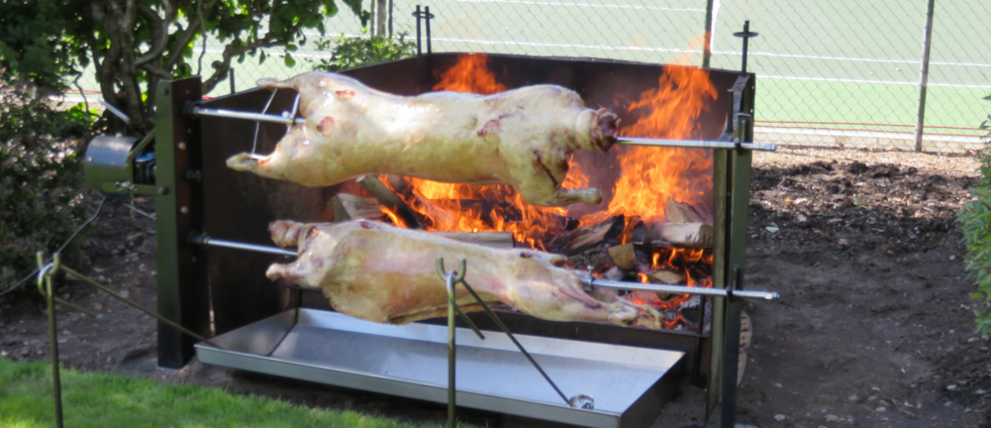 Spit roast outside catering hire in Hampshire